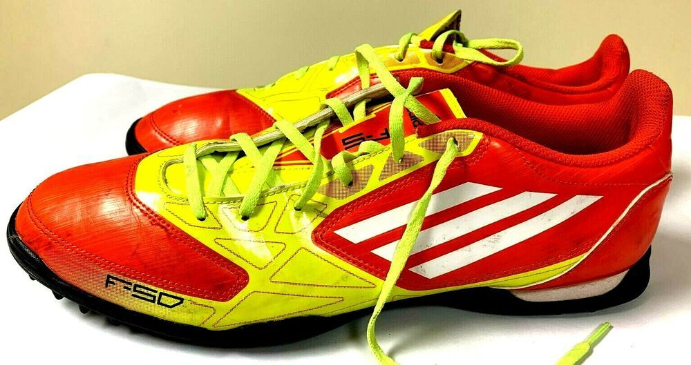 Adidas F50 Indoor Turf Shoes (Neon greenpurplered, Mens 6.5, Good condition)