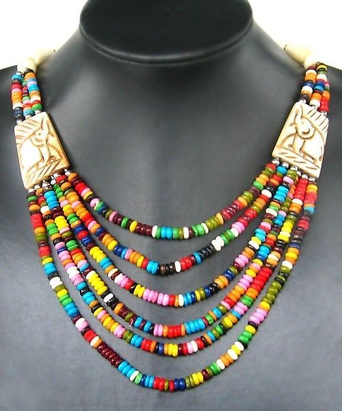 Nepalese jewelry charming Handmade pierced multi-colored yak bone Necklace Nepal #Handmade