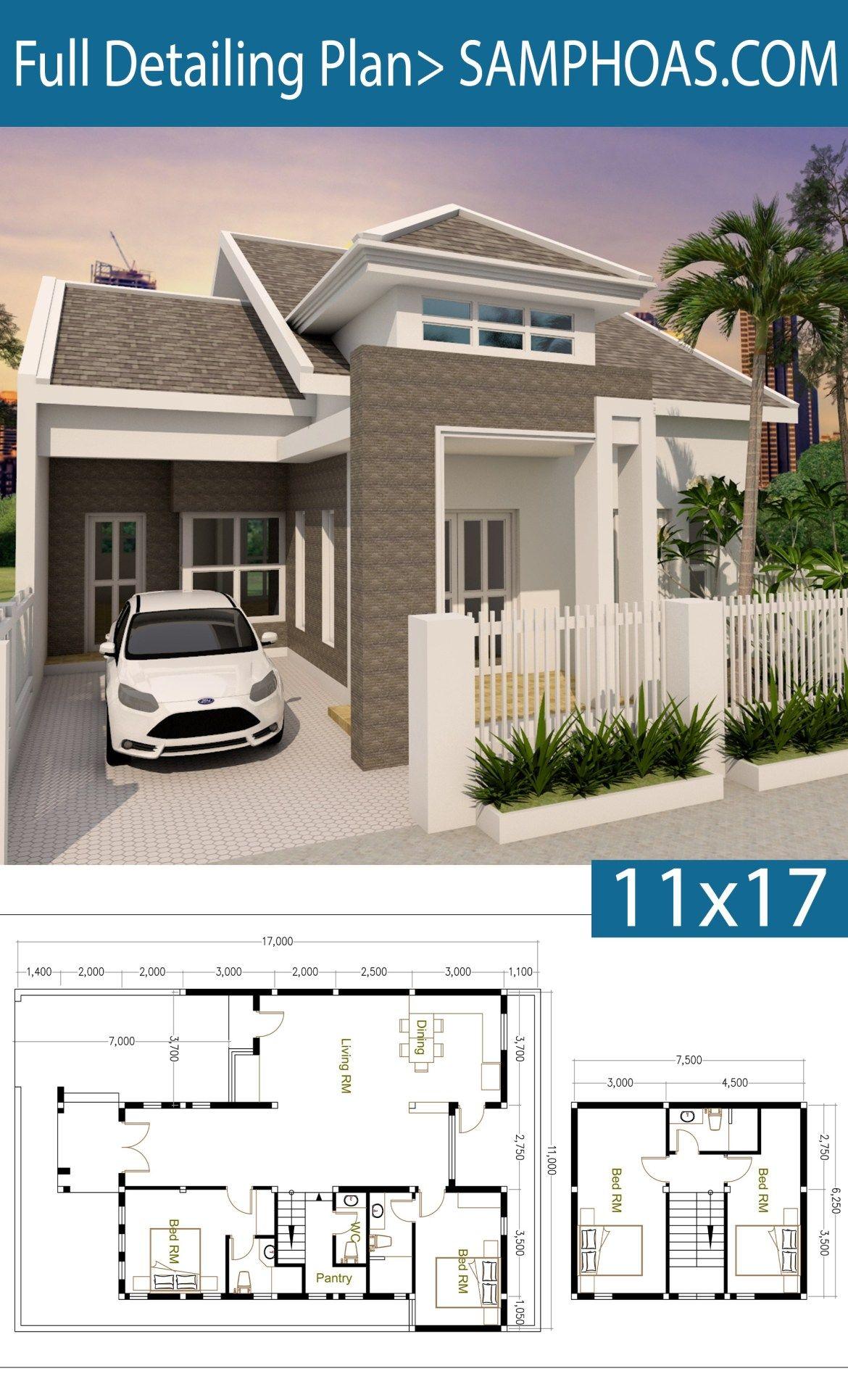 4 Bedrooms House Plan 11x17m Samphoas Plansearch House Plans 4 Bedroom House Plans Home Building Design