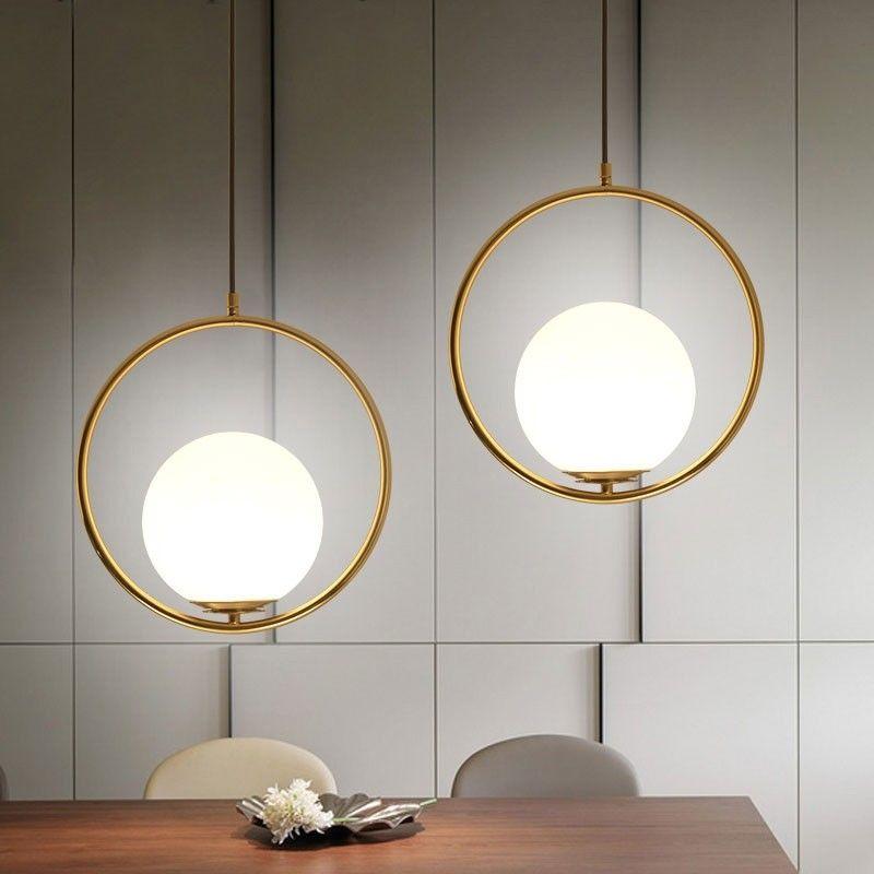 Contemporary Minimalist Metal Ring Globe Glass Shade Single Light in Gold Pendant Light - Pendant Lights - Ceiling Lights - Lighting #pendantlighting