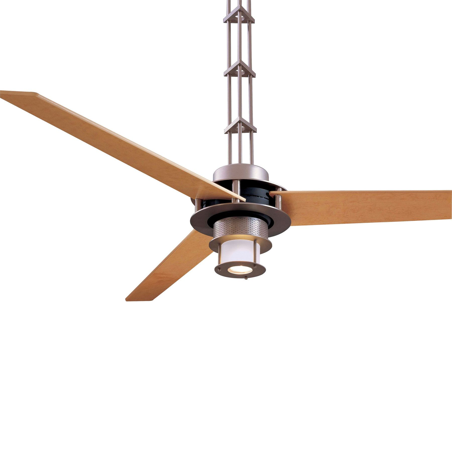 San Francisco Ceiling Fan With Light In Brushed Steel Finish With Maple Blades Is The Epitome Of Mode Ceiling Fan Ceiling Fan With Light Minka Aire Ceiling Fan