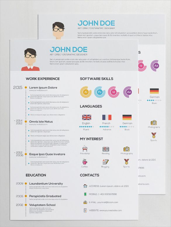 Flat Resume with Infographics AI Illustrator , Infographic Resume - adobe indesign resume template