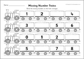 5 2 6 numerals from 1 to 10 missing numbers train worksheets counting in 1s sparklebox. Black Bedroom Furniture Sets. Home Design Ideas