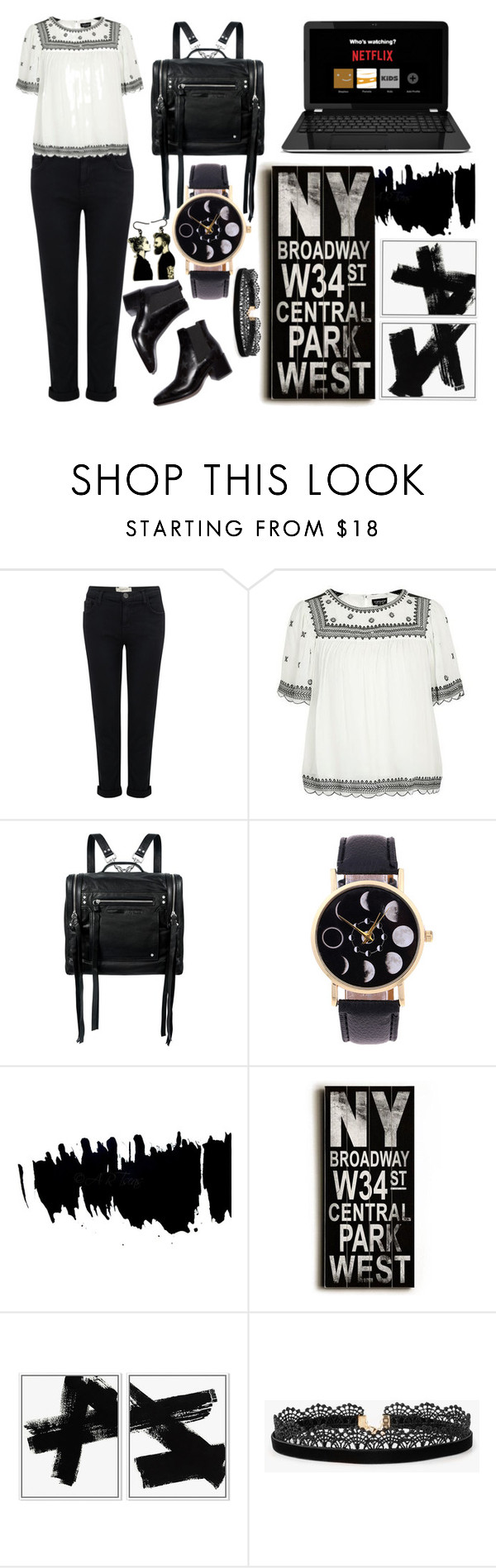 """""""black n white"""" by akshera ❤ liked on Polyvore featuring Current/Elliott, Topshop, McQ by Alexander McQueen, Home Decorators Collection, Azalea and blackandwhite"""