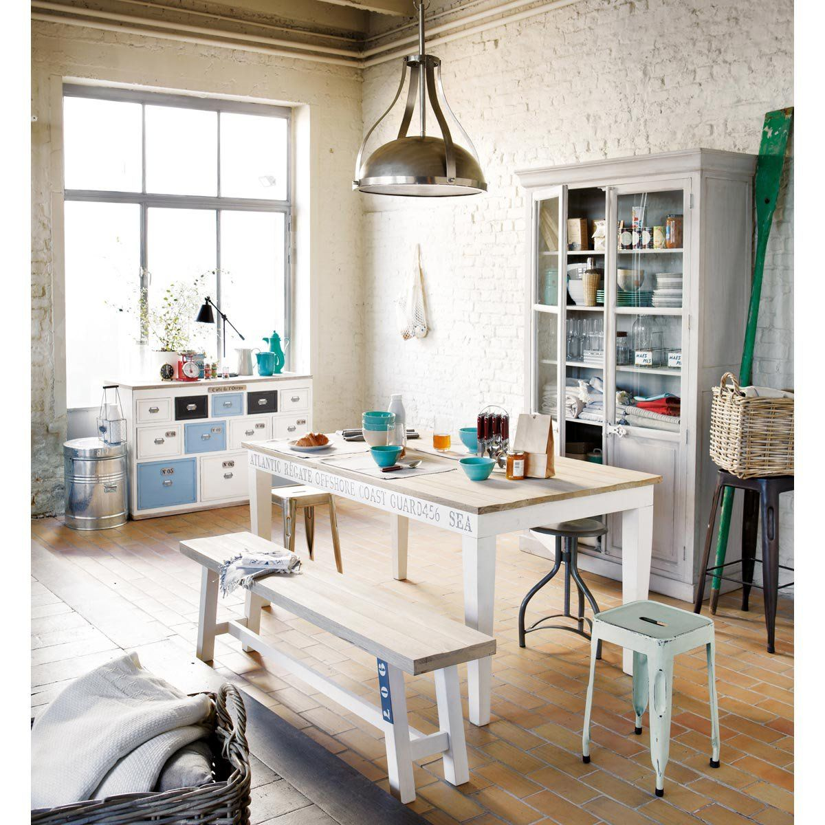 Table Et Banc Peints En Blanc Maisons Du Monde Mesas De  # Banc De Table Blanc