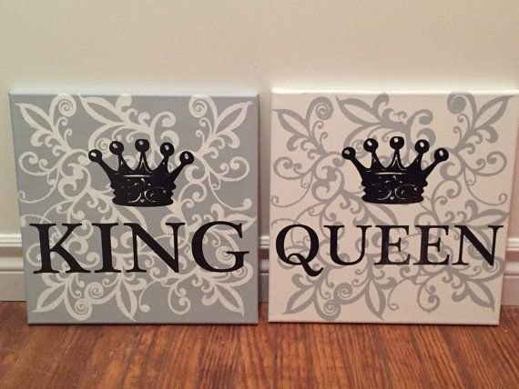 King I Queen Bedroom Wall Art Painted 12 X12 Canvas With Vinyl