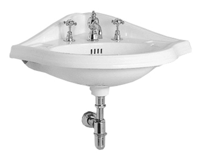 Whitehaus Ar884 Corner China Wall Mount Basin With An Oval Bowl Wall Mounted Bathroom Sinks Wall Mounted Basins Corner Wall