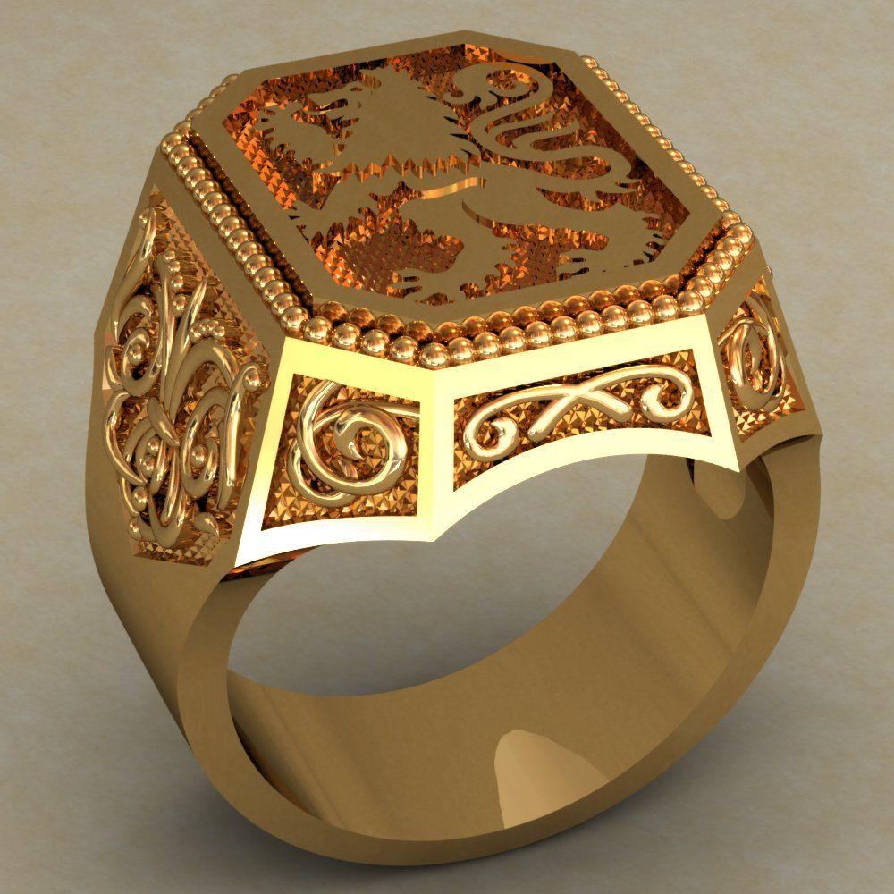 Lion Mens Signet Ring Lion Signet Ring Vintage style Men ...