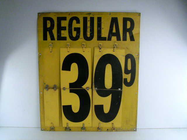 antique vintage original old gas station gasoline price sign made of