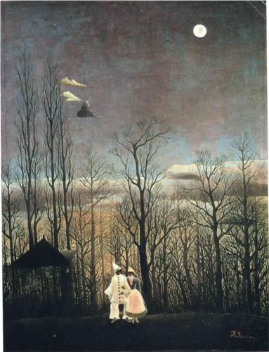 """Carnival Evening - Henri Rousseau, 1885-6. Although Rousseau is most widely known for his jungle motifs, he was also adept at a style of painting that he coined """"portrait landscape."""" These paintings included a landscape in the background of the painting, and a portrait in the foreground of the piece. This painting includes a forest in the background, which was one of the painting types first produced and displayed by Rousseau, foreshadowing his complex jungle scenes."""