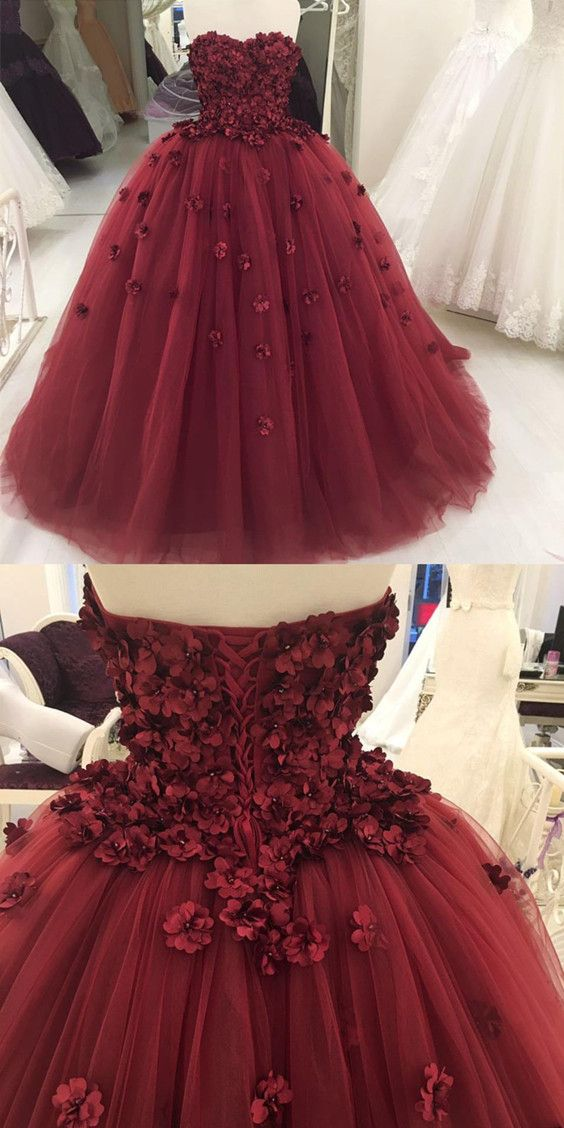 260a0710a9 Lovely Flower Sweetheart Tulle Ball Gowns Quinceanera Dresses ...