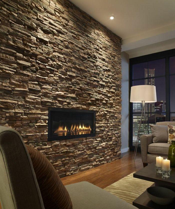 15+ Erstaunliche Steinwand Wohnzimmer in 2020   Steinwand wohnzimmer, Steinwand, Moderne ...
