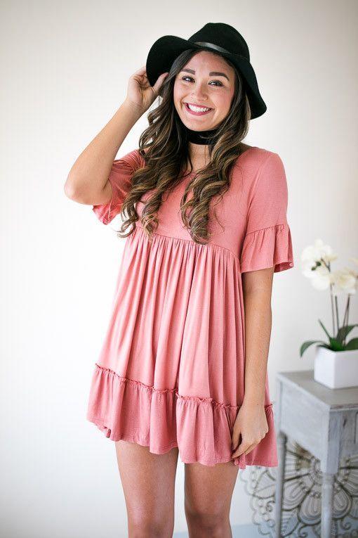 Soft Rose Baby Doll Dress