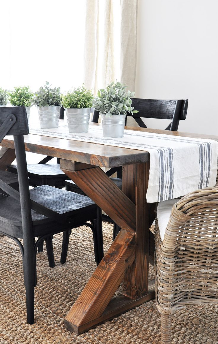 X Brace Farmhouse Table Dining room table, Dining room