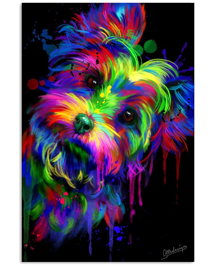 Yorkie Dog Colorful Poster In 2020 Yorkie Painting Colorful Animal Paintings Dog Pop Art