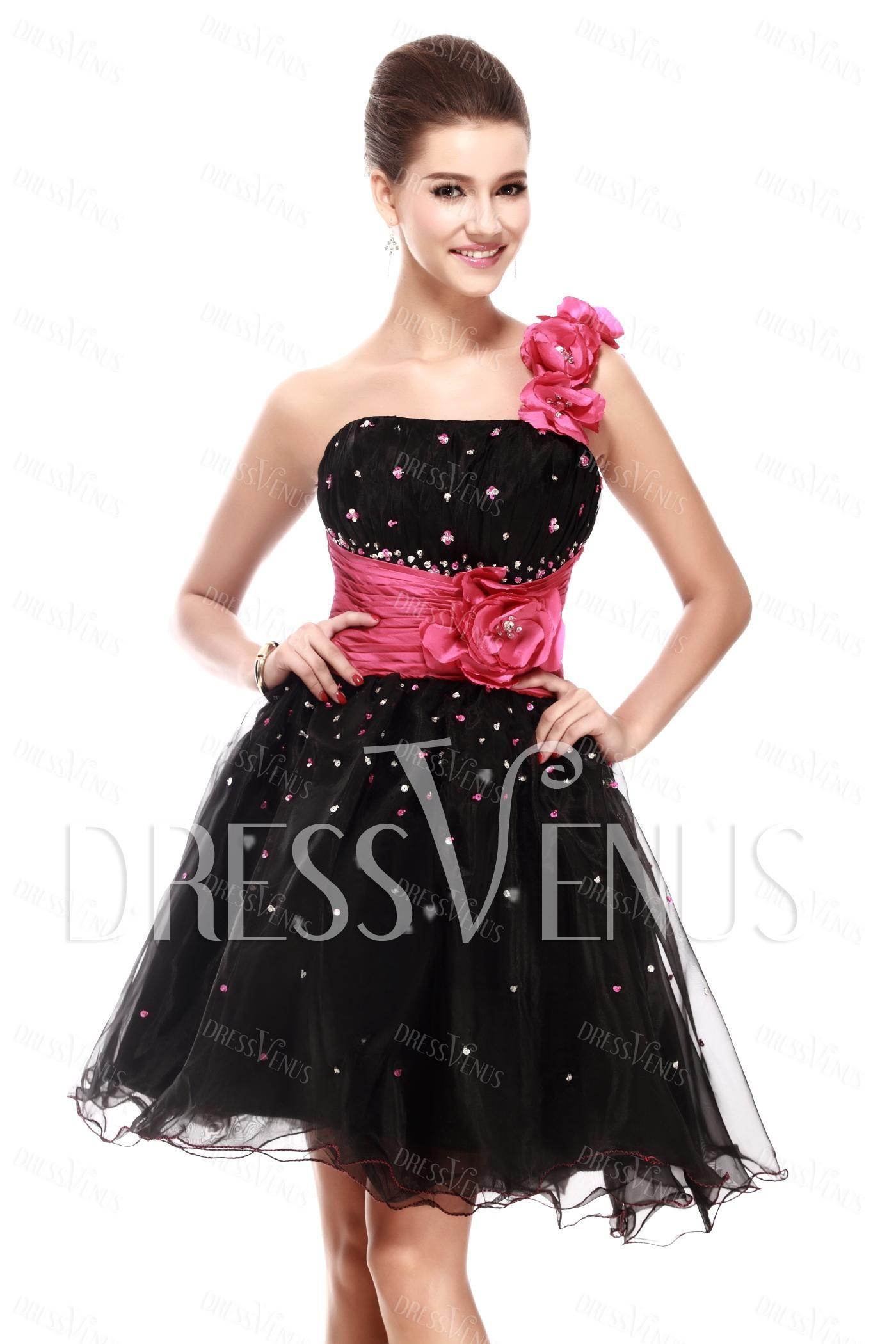 Aline oneshoulder minishortlength sandraus prom dress