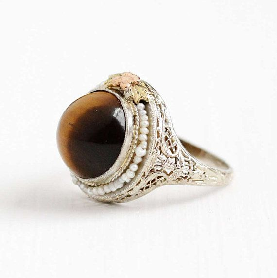 Caramel Cat S Eye Ring Diamontrigue Jewelry: Antique 14k White Gold Filigree