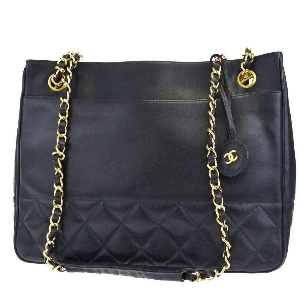 a11efafd5 Auth CHANEL CC Matelasse Quilted Chain Shoulder Bag Leather Black Italy  23BF587 #CHANEL #ShoulderBag