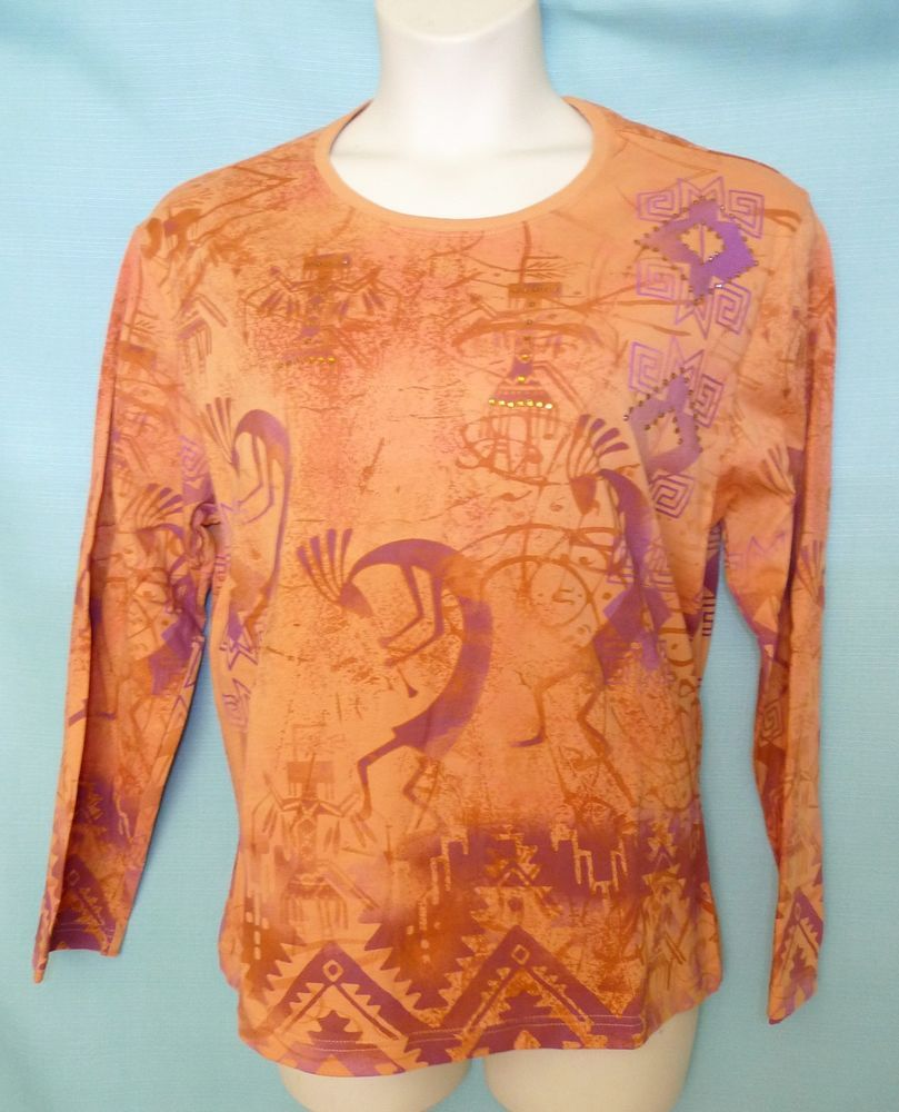 Long Sleeve Knit Top size 1x 2x XXL Southwestern Kokopelli Terracota Orange  #PrarieMountain #KnitTop #Casual