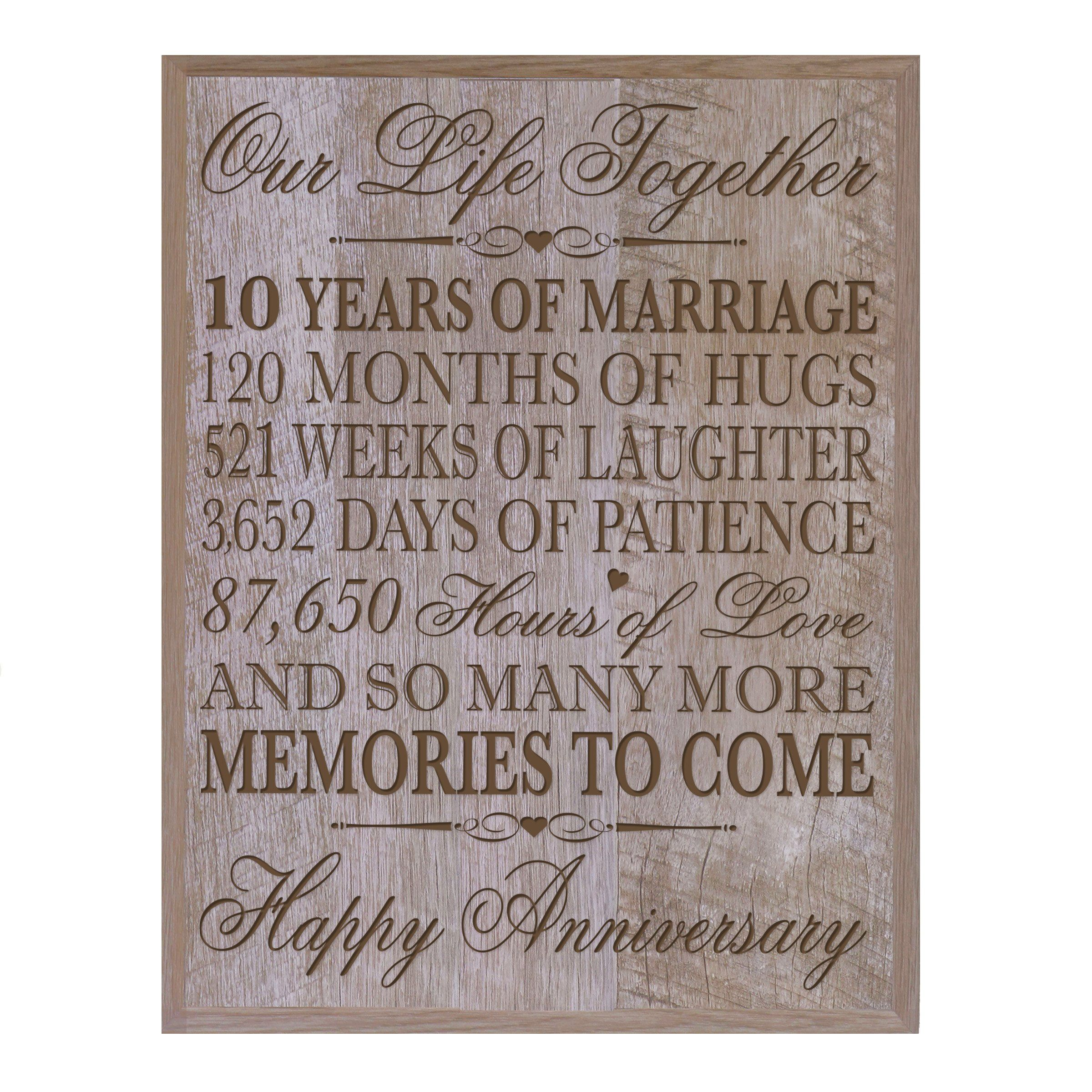 10th Wedding Anniversary Wall Plaque Gifts For Couple Her10th