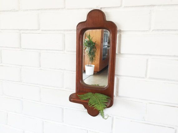 Vintage Wood Wall Mirror With Shelf