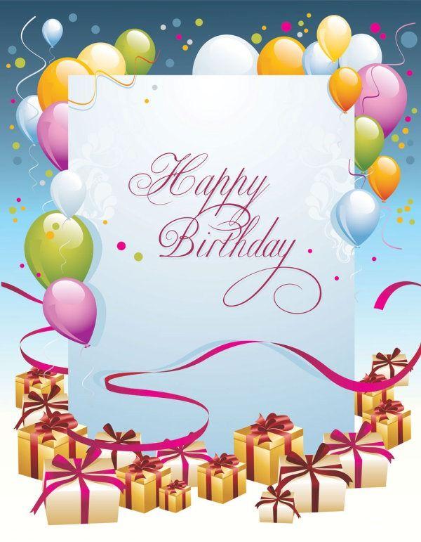 Set Of Happy Birthday Postcards Design Elements Vector Happy