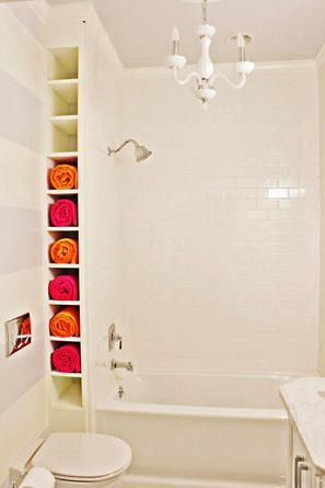 Built In Towel Rack Behind The Shower Wall A Clever Way To Add More Storage Space Without Impacti House Bathroom Bathrooms Remodel Small Bathroom Organization