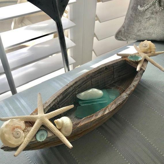 Beach Decor Driftwood Starfish And Shells Boat Candle Holder In 2020 Wholesale Decor Beach Decor Nautical Decor