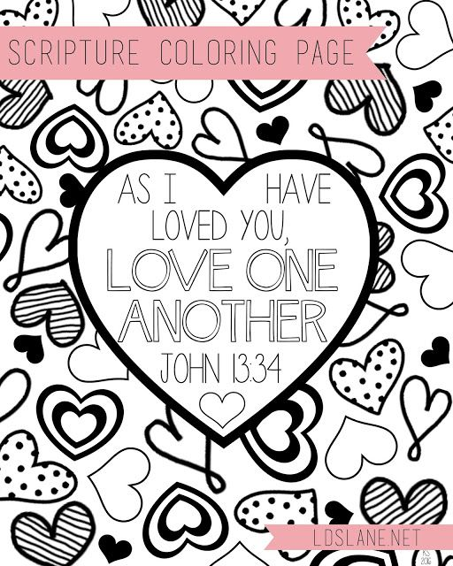 Scripture Coloring Page Love One Another Lds Lane Heart