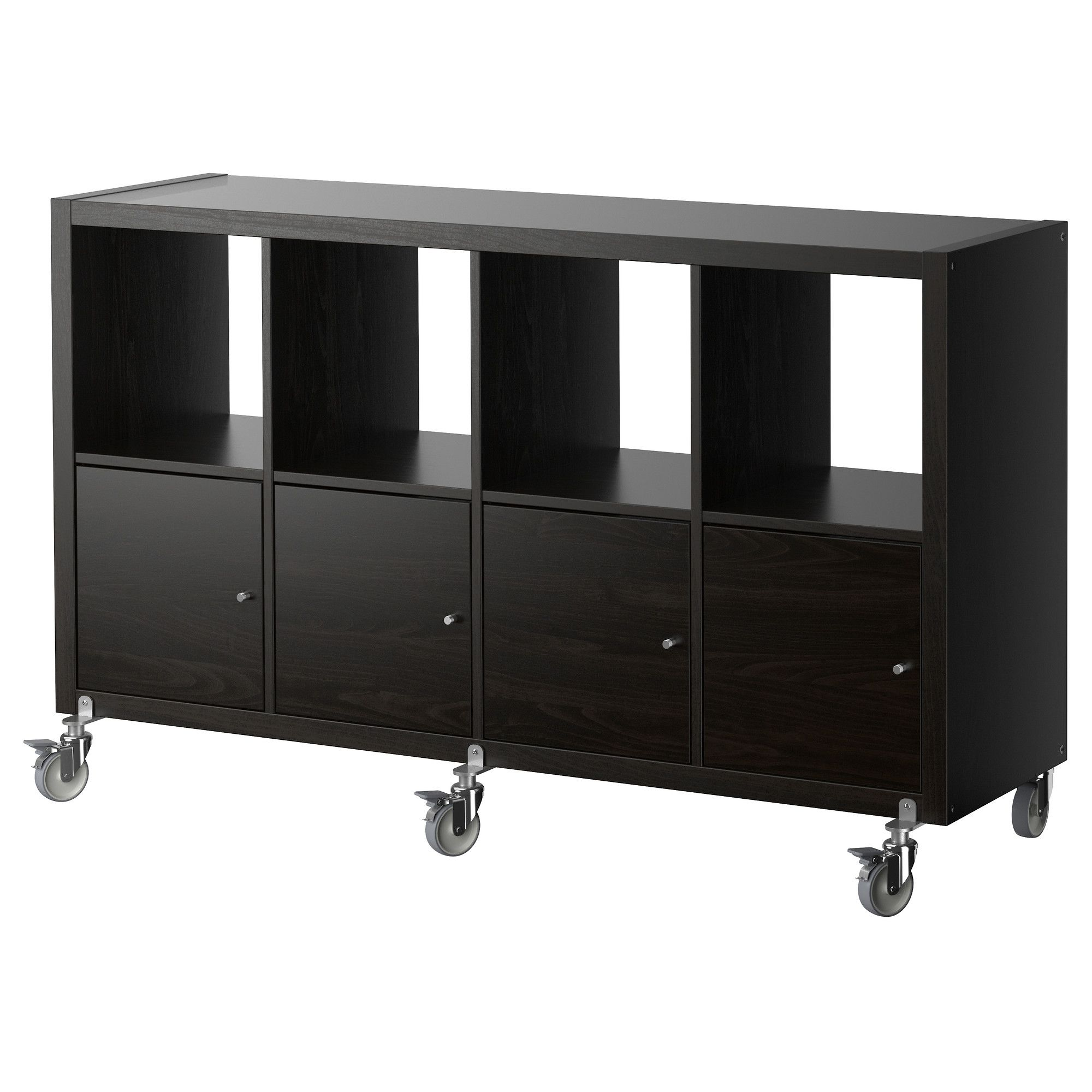 kallax regal mit 4 t ren und rollen schwarzbraun jetzt. Black Bedroom Furniture Sets. Home Design Ideas