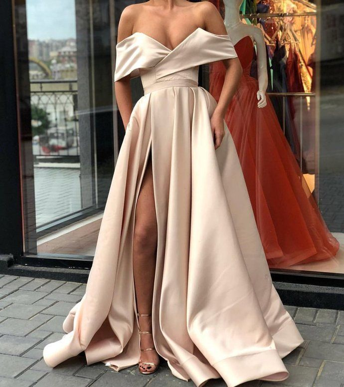 2526a0a1ee1 2018 Sexy Satin A-line Off the Shoulder Formal Occasion Dress with Slit  Prom Dresses by lass