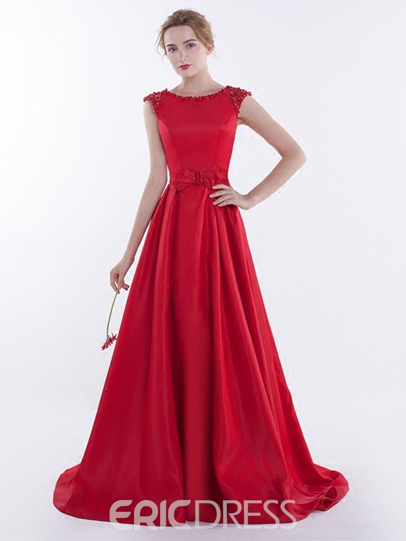 A line beaded cap sleeve laceup back evening dress with sweep train