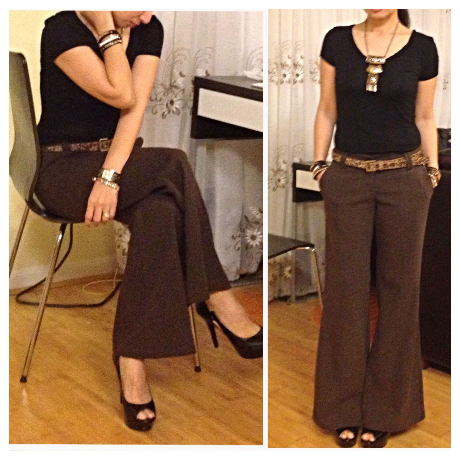 day 96: plain black v-neck shirt on brown dress pants; accessorize ...