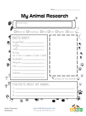 Animal Research Graphic Organizer | All Kids Network ...