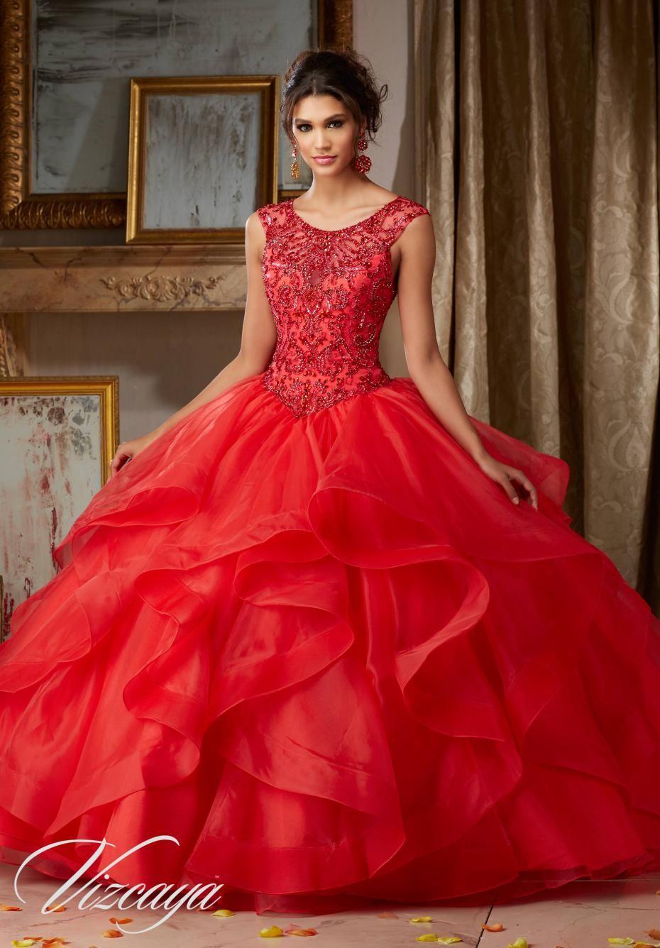Royal Blue Long Ball Gown Beaded Quinceanera Dresses Organza Masquerade Backless Sexy Red Vestido De Debutante