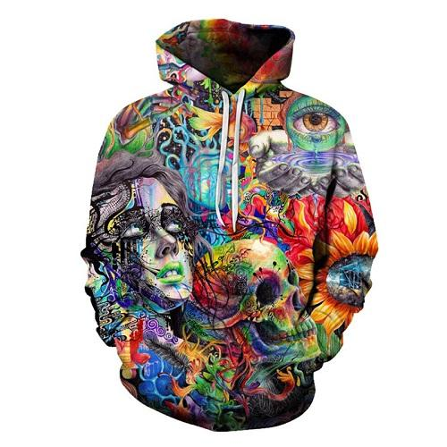 Unisex 3D Novelty Hoodies Patchwork,Colorful Mandala Floral,Sweatshirts for Women Plus Size