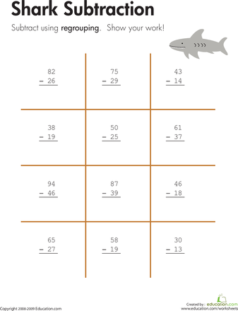 Shark!: Two-Digit Subtraction with Regrouping | Worksheets, Shark ...