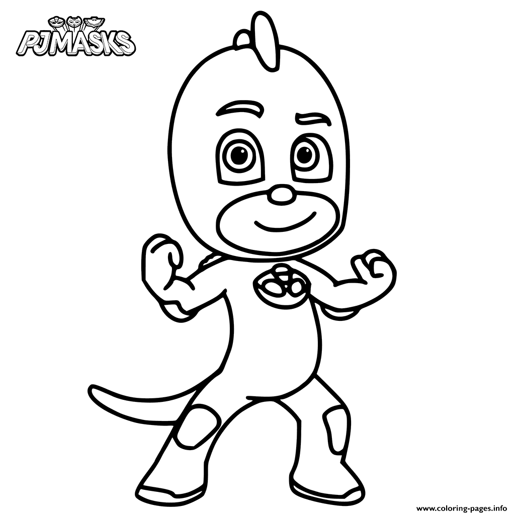 Print Colour In Gekko From PJ Masks Coloring Pages