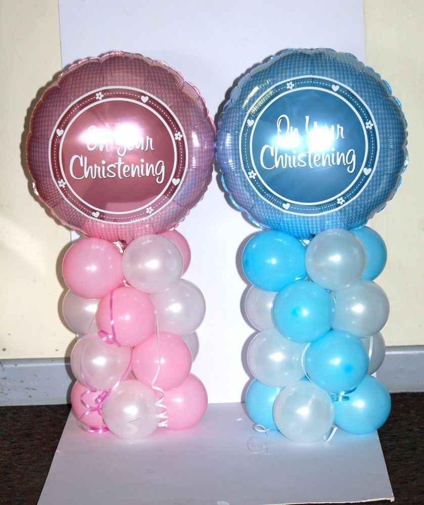 Christening 18 inch foil balloon display table for Balloon decoration for christening party
