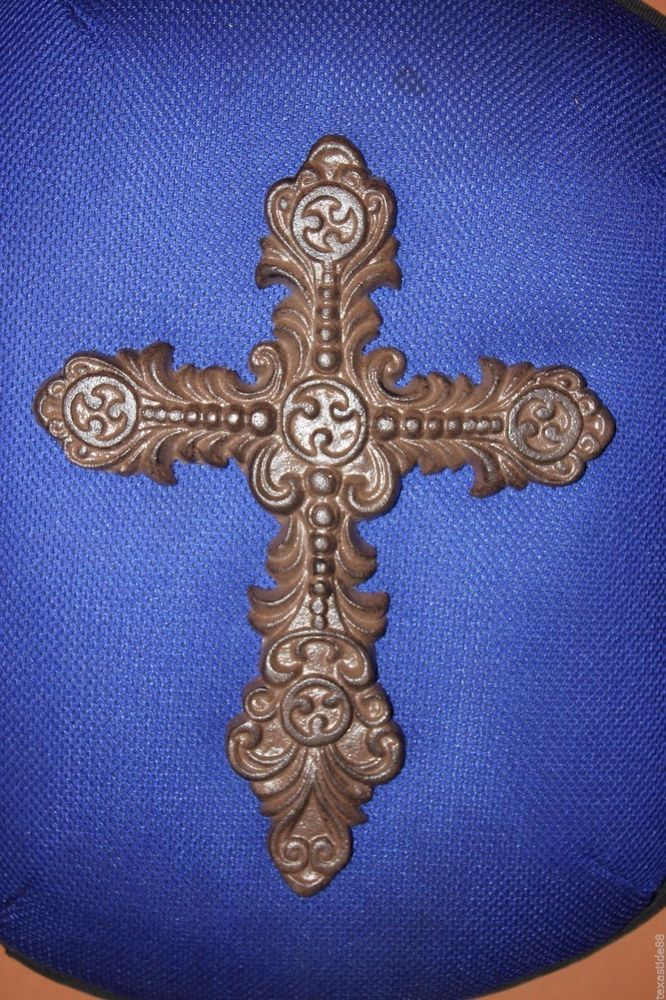"(1) VINTAGE-LOOK CROSS WALL DECOR, CHRISTIAN CROSS GIFT, CAST IRON, 12"", C-53"