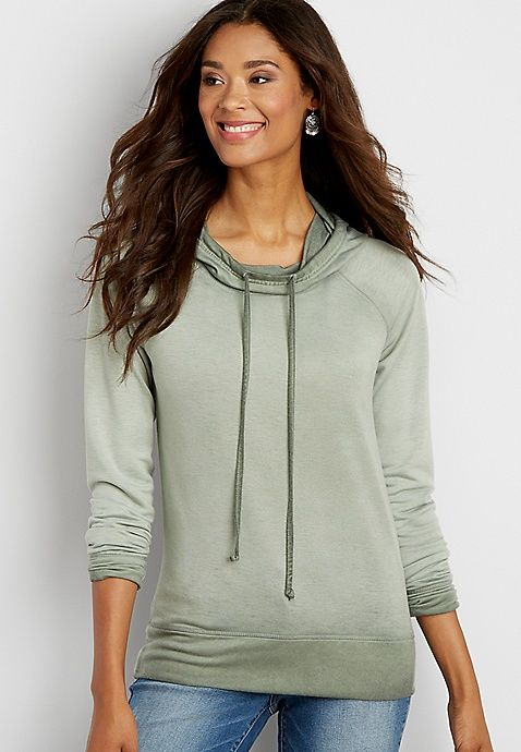 e9c116e8cbc Burnwash hooded pullover sweatshirt with cowl neck