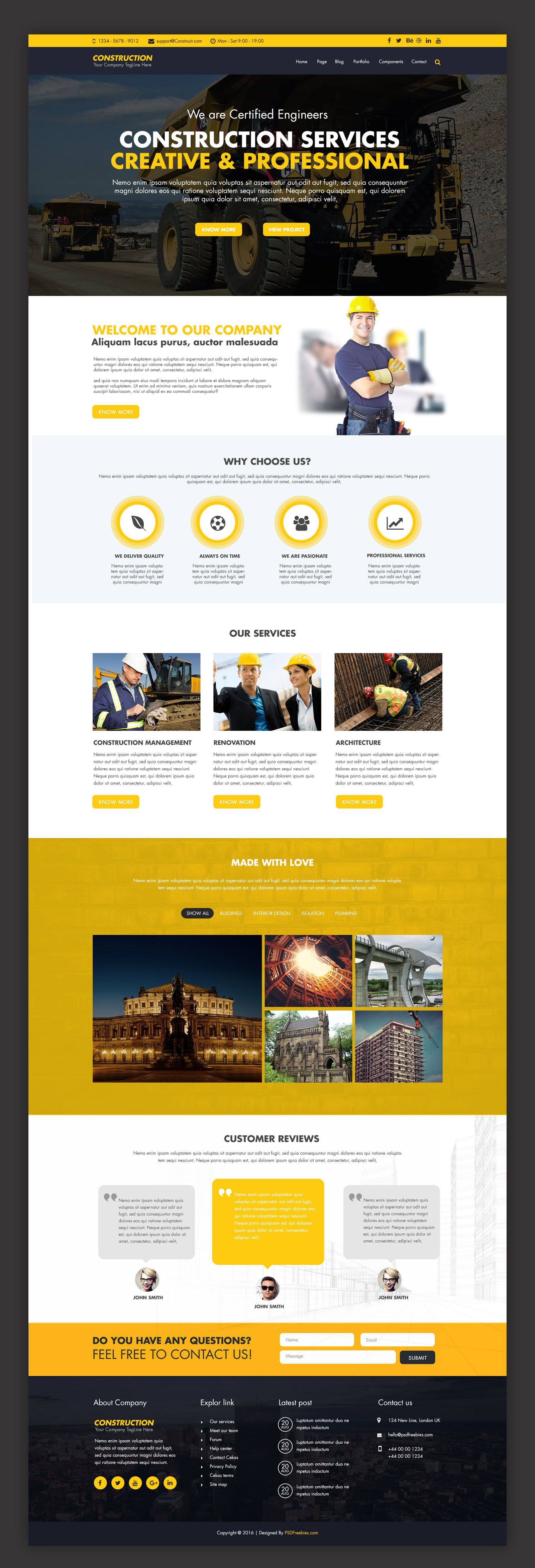 Construction Company Website Template Free Psd Psdfreebies Com Corporate Website Design Company Profile Design Templates Free Website Templates