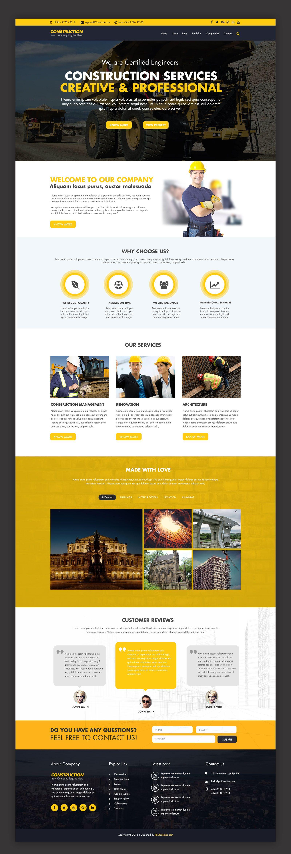 Construction Company Website Template Free Psd Psdfreebies Com Corporate Website Design Website Design Layout Free Website Templates