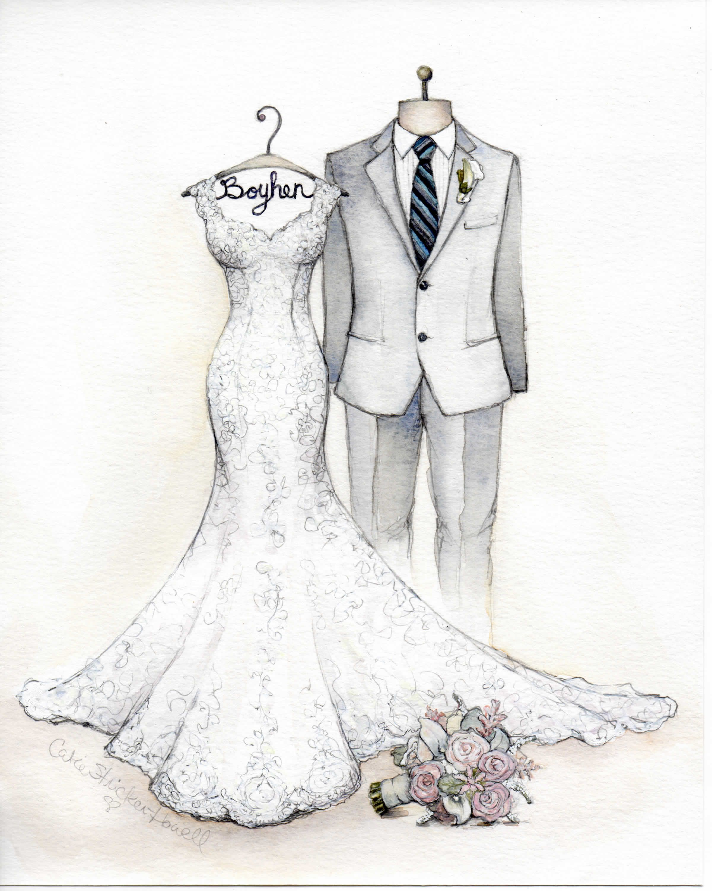Here S A New One Wedding Dress Sketch Bride Groom With Bouquet