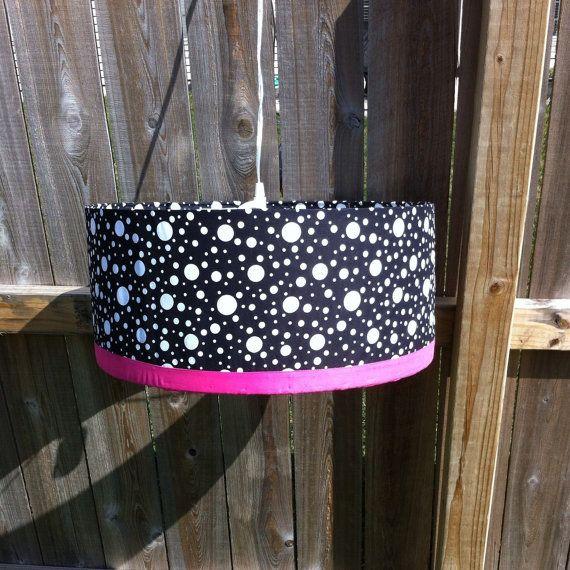 Drum lamp shade black and white polka dot with pink trim with drum lamp shade black and white polka dot with pink trim with pendant light kit great for dorm room nursery little girls room aloadofball Gallery