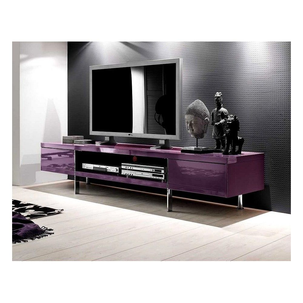 Canap Violet L Gance Du Meuble Tv Violet Laqu D Co  # Meuble Tv Violet