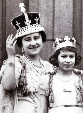 """Queen Elizabeth & Princess Lilibet on Cornation Day, modelling their """"Mother and Daughter"""" crowns"""