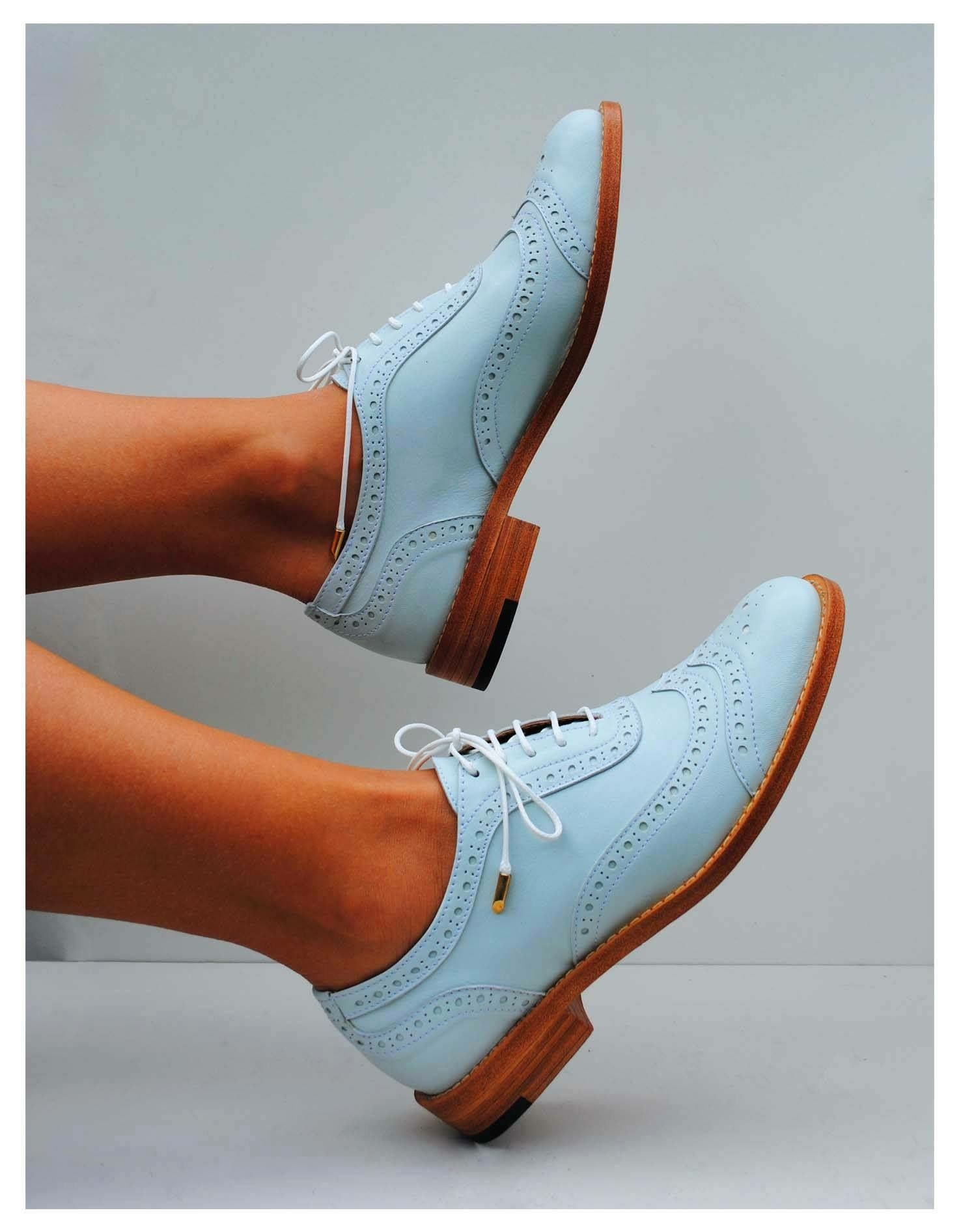 Baby blue brogues | Women oxford shoes