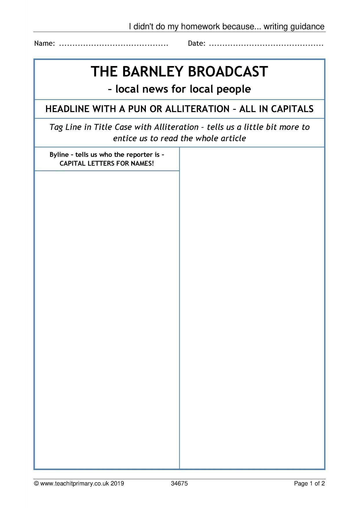 Eyfs Ks1 Ks2 Newspapers Teachit Primary In Report Writing