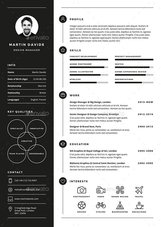 CV Resume Professional resume template, Professional resume and - one page resume template word